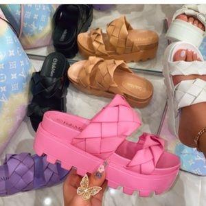 Purple Super Platform Woven Double Strap Sandals